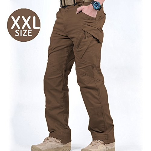uper Comfort Breathable Cotton Spandex Tactical Pants with Tons of Pockets |Brown |XXL Size |346.16 ()