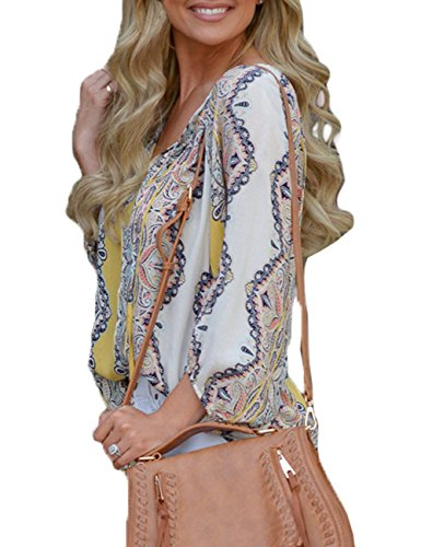 Floral Sleeve Blouses Tops Deep XXL Tie Flare CILKOO Green S Short V Neck Front Womens Printed Chiffon OIxZqg5