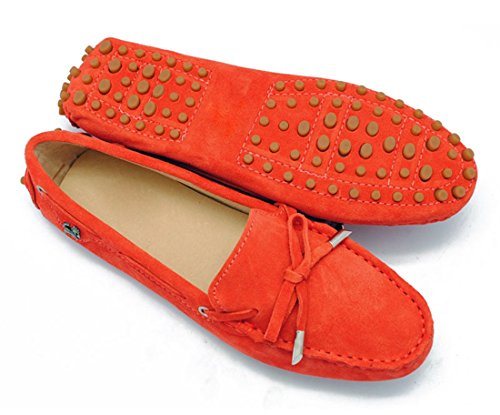 LL STUDIO Womens Casual Bowknot Orange Red Suede/Leather Driving Walking Penny Loafers Boat Shoes 9 M US -  LL STUDIO-YIBU9602-Orange Red-Suede41