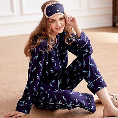 donne pigiami in Set sexy Le cotone abbigliamento maniche di Colore dimensioni Blu L Blu casa in lunghe di Pantaloni di cadono a cardigan dfxqaC