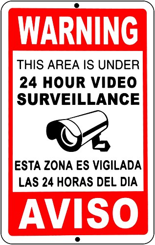Video Surveillance Signs 24 Hour Security Camera cctv Signs English Spanish AVISO