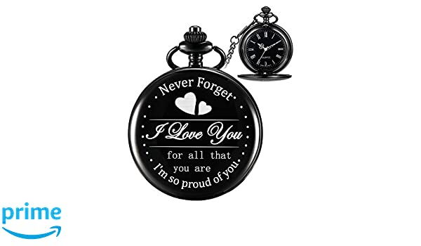 5773a89e6 Amazon.com: Hicarer Engraved Pocket Watch for Dad Daughter Son Husband,  Gift for Birthday Christmas Holiday - Never Forget I Love You (I Am so  Proud of You, ...