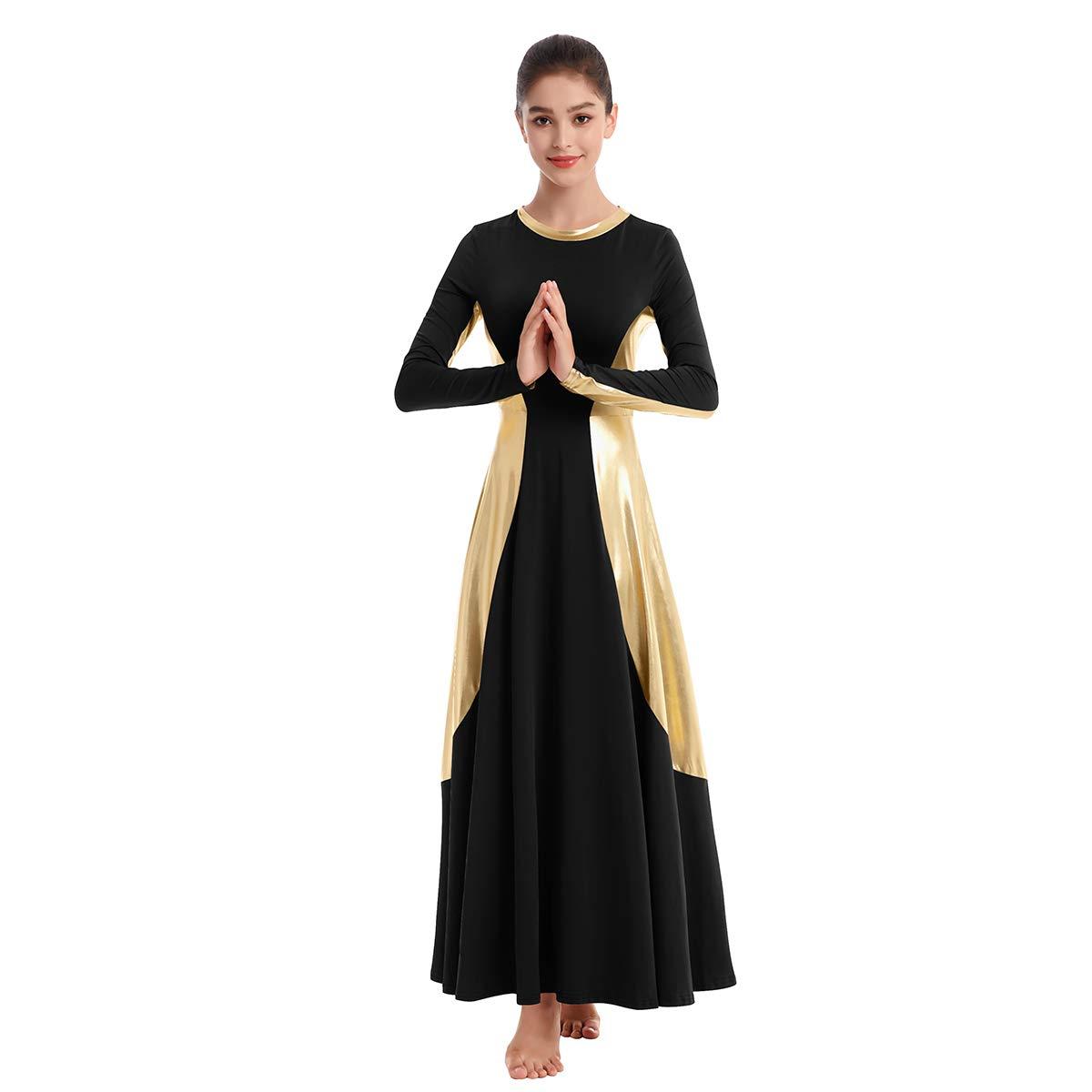Women Praise Dance Robe Liturgical Worship Metallic Color Block Long Sleeve Maxi Joyful Dress Loose Fit Full Length Costume Ballet Swing Gown Black-Gold S by IBAKOM