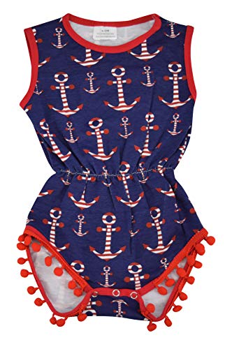 Unique Baby Girls 4th of July Baby Nautical One-Piece Bodysuit (Blue, 3-6 mo/S)