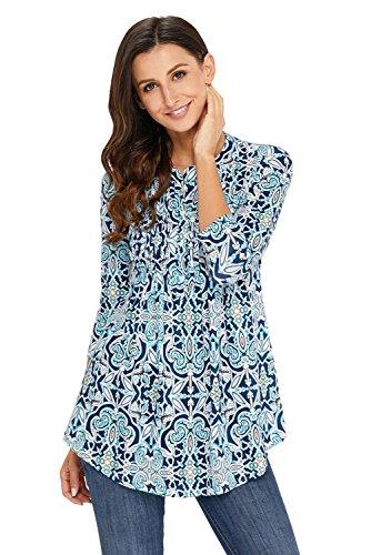 (BINLIANG Women Fashion Floral Notch Neck Pin-Tuck Tunic Top Casual Shirt S-XXL Blue)
