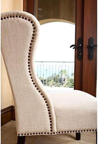 Amazon Com Abbyson Living Sierra Tufted Cream Linen Wingback Dining Chair 40 5 High X 27 Wide X 29 Deep Chairs
