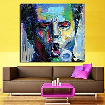 sakkdaull Retrato de Cara de Hombre Colorido Abstracto Pinturas al óleo Adultas para niños Principiantes Adultos con un Pincel Pintura Lienzo Kit Lienzo 40x50cmDIY Pintar por números