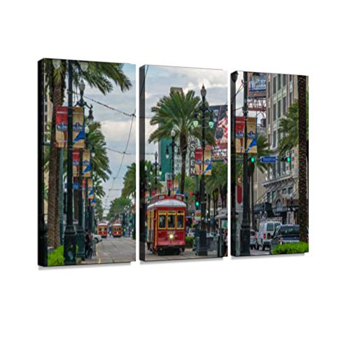 New Orleans Canal Street - Tram pubic Transport on Canal Street in New Orleans, Louisiana Print On Canvas Wall Artwork Modern Photography Home Decor Unique Pattern Stretched and Framed 3 Piece