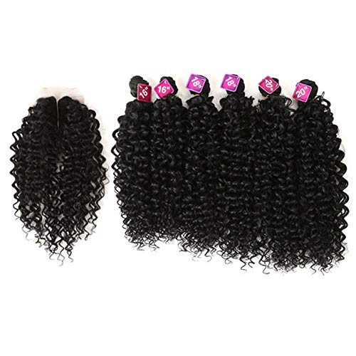 Style Icon Synthetic Kinky Curly Black Hair 16-20 inch 7Pieces/lot Afro Kinky Curly Hair 6 Pieces With Closure Lace For Black Women (161618182020+16, 1B)