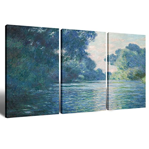 Canvas Wall Art Decorations Painting for Living Room Home Decor Elegant Vintage Claude Monet Hand-painted Artwork Water Lilies 1914 3 piece Picture Framed Wall Art House Decor Ready to Hang 16x24 Inch by Ink&Flower