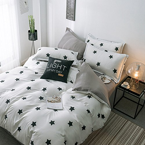 LuDan 3 Pcs Kids Bedding Sets for Unisex 1 Duvet Cover +2 Pillow Cases Twin Full Queen King Size,Without Comforter,Gift for Family,Friends,Birthday (Star, ()
