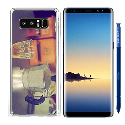 Luxlady Samsung Galaxy Note8 Clear case Soft TPU Rubber Silicone IMAGE ID: 34010862 coffee maker espresso machine on the table wood vintage color
