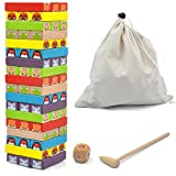 GYBBER&MUMU 54 Piece Colored Wooden Blocks Stacking Board Games with 1 Wood Hammer &1 Dice & 1 Storage Bag