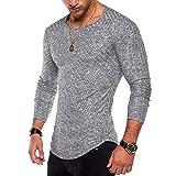 OGOUGUAN Men's Hipster Sweatshirt Swag Hip Hop Shirts O Neck Side Split Arc-Shaped Hem (Dark Grey, L)