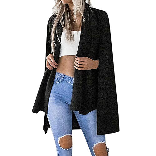 GOVOW Ladies Long Sleeve T Shirts Black Women Solid Color Stylish Duster Blazer Jacket Coat(US:10/CN:XL,Black)