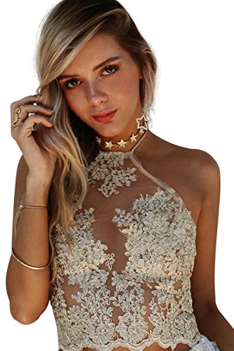 Simplee Apparel Women's Halter Neck Tank Crop Top Sleeveless Lace Vest Bustier, Small, Gold (Gold Lace Bras)