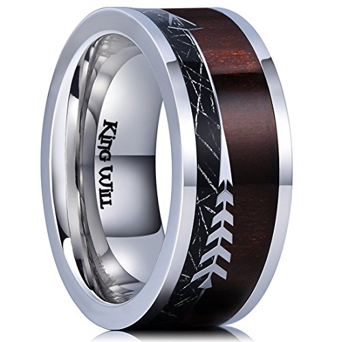 King Will NATURE 8mm Real Wood Inlay Titanium Wedding Ring Imitated Meteorite Comfort Fit 11 by King Will