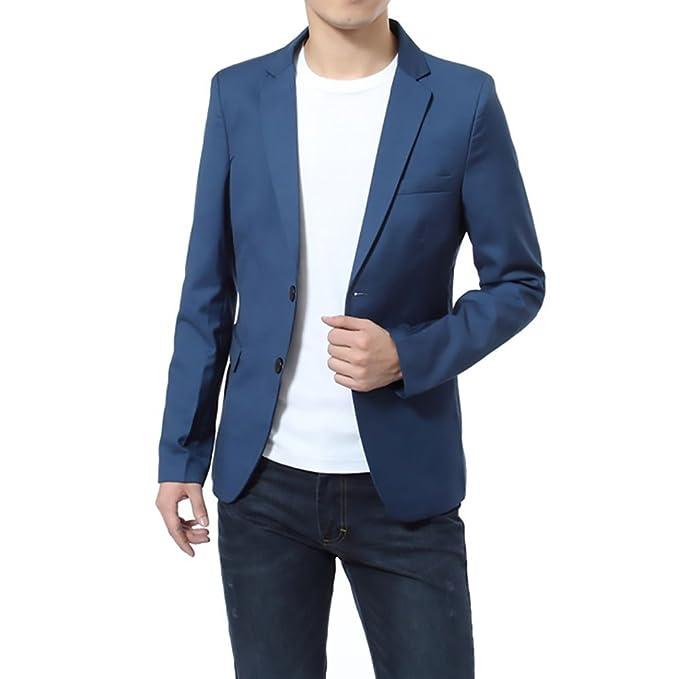 Blazer Hombre Elegantes Casual Slim Fit Cuello Solapa Chaquetas Negocios  Office Wear Chaqueta Americana Hombre ksrYknFG 39048a159775