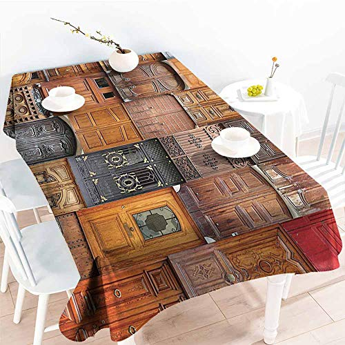 Homrkey Washable Table Cloth Rustic Decor Collection Doors from Valencia Spain Daylight Mediterranean Residence Entering Old City Image Peru Ivory Gray Party W40 xL60