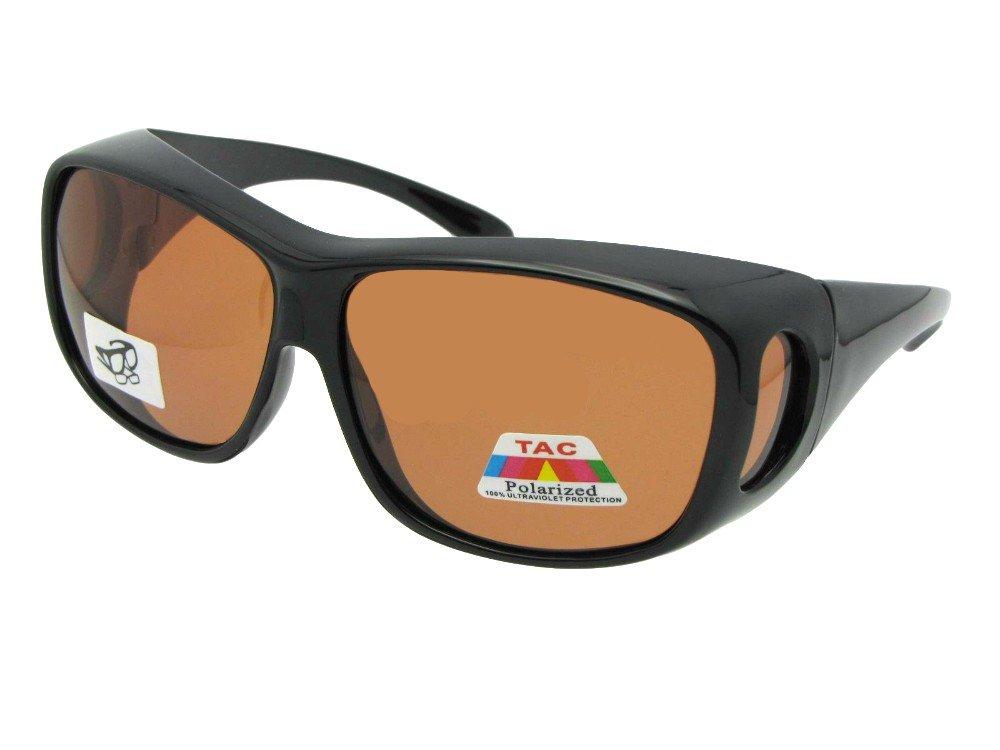 Style F15 Wrap Around Polarized Fit Over Sunglasses (Black Frame-Amber Lenses, 2 1/2)