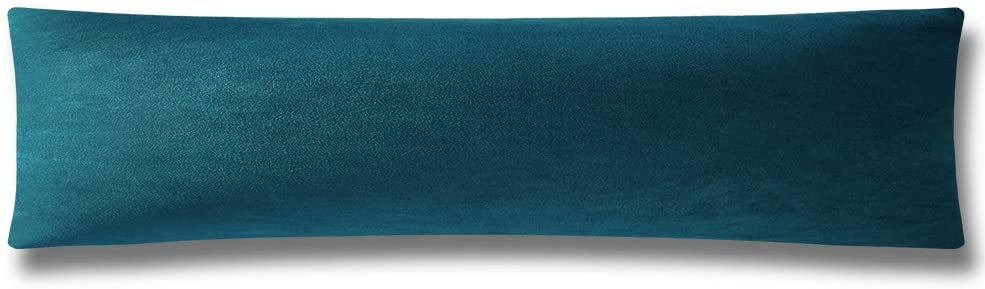 DEZENE Body Pillow Cover, Super Soft Velvet Body Pillowcase with Hidden Zipper Closure for Adultes 21 x 54 Inch, Teal
