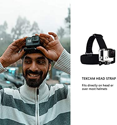 Camera Not Included TEKCAM Wearing Headband Head Strap Belt Mount with Screw Compatible with Gopro Hero 7 6 5//APEMAN//AKASO//Campark//Victure//Crosstour//Prymax//Dragon Touch 4K Action Sports Camera