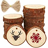 30 pcs 2.4-2.8 inch Natural Wood Slices for Crafts Kit Predrilled with Holes Unfinished Tree Bark Centerpiece Wooden Circles Great for Arts Rustic Coasters Christmas Ornaments DIY Wedding