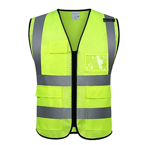 Reflective vest Running Biking Working Motorcycle Safety Vest For Men and Women With 4 Pockets Zipper Front Breathable Mesh In 3 Sizes Orange/Green (XL-1, Green) by YuGuan