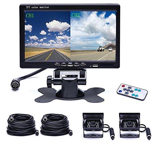 Camecho Dual Back-up camera, 4 split monitor, achtercamera, auto, 18 IR-nachtzicht, waterdicht, Aviation 4-pins…