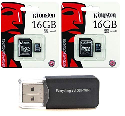 2 Pack of Kingston 16GB MicroSD HC Class 4 TF MicroSDHC with SD Adapter TransFlash Memory Card SDC16/GB 16G 16 GB Gigs (Lot of 2) with Everything But Stromboli Memory Card Reader R (Best Micro Sd Card For Htc One M8)