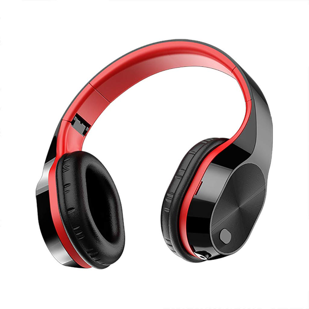 Bluetooth 5.0 Over Ear Headphones, Tuscom Foldable Stereo Super Bass Headsets w/Built-in Mic Wired Mode PC/Cell Phones/TV, Support Memory Card (Red)