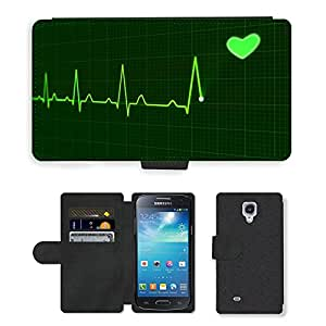 PU Cuir Flip Etui Portefeuille Coque Case Cover véritable Leather Housse Couvrir Couverture Fermeture Magnetique Silicone Support Carte Slots Protection Shell // M00290042 Medicina Salud del pulso del latido del // Samsung Galaxy S4 Mini i9190