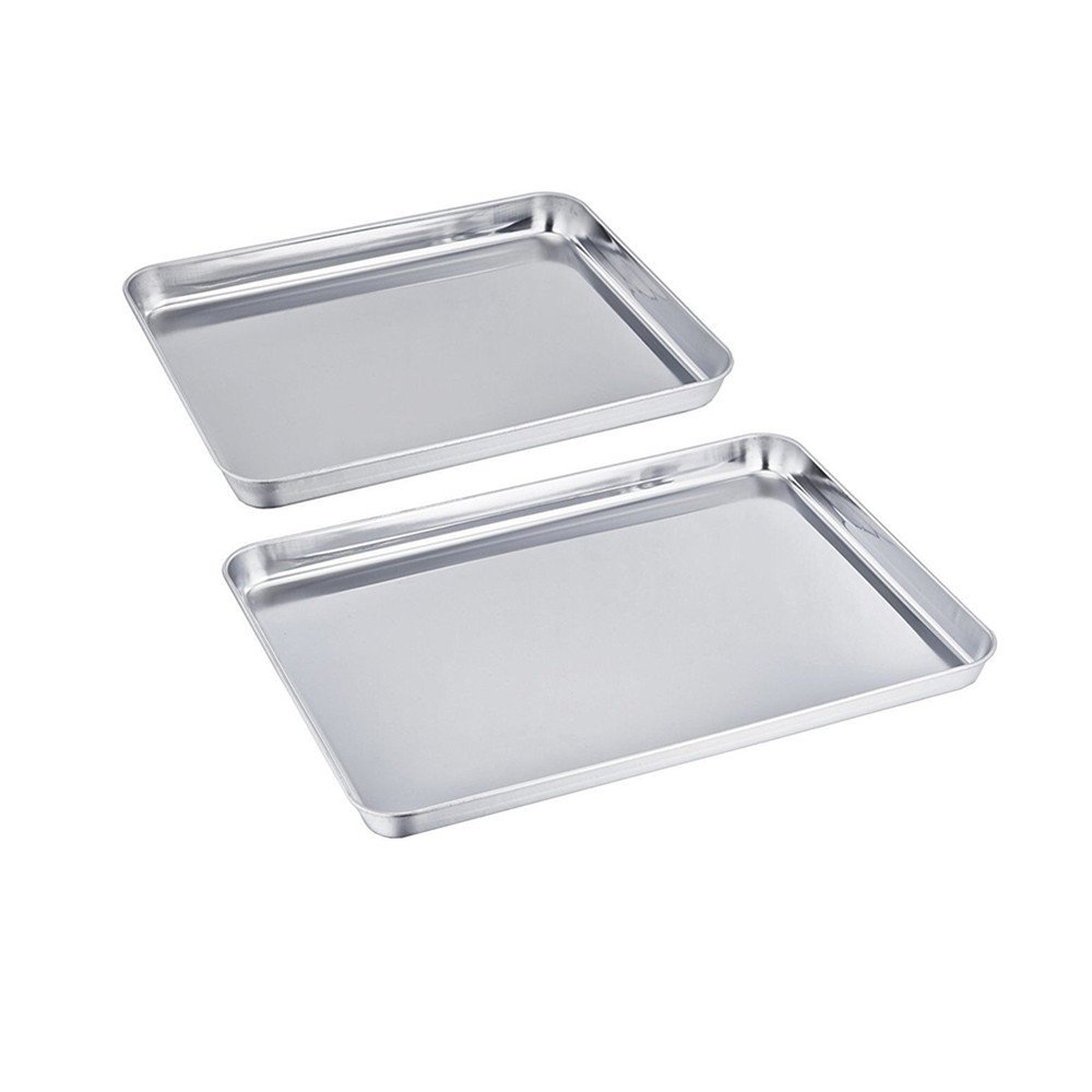 UNIQME Baking Pan Set of 2 Pure Stainless Steel Healthy Non Toxic Toaster Oven Tray Pan Rust Free & Less Stick Rectangle Size Cookie Sheet Deep Edge Ovenware Mirror Finish, Easy Clean, Dishwasher Safe