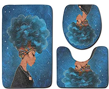 Afro Black Woman with Blue Hair Skidproof Toilet Seat Bathroom Floor Mat Pedestal Rug + Lid Toilet Cover + Bath Mat 3 Piece Muyumida