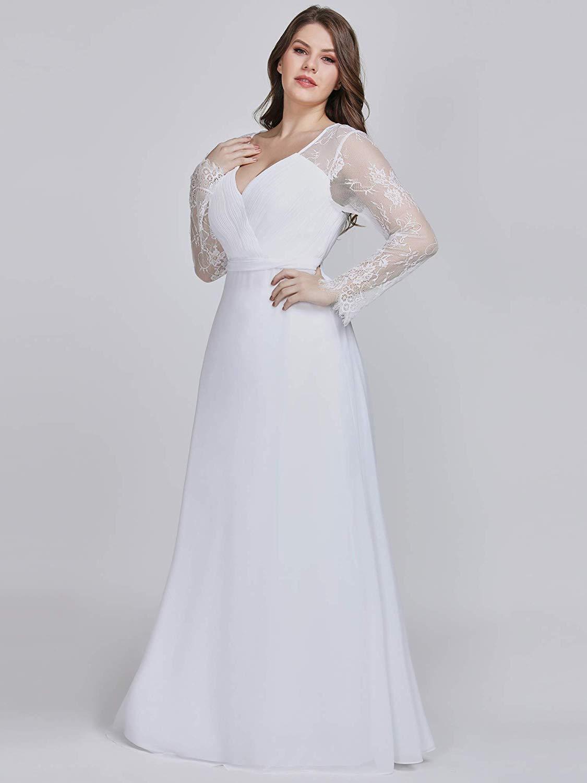 Junopi Jackgold Women Plus Size Lace Elegant 3//4 Sleeve Empire Waist Maxi Bridesmaid Dresses