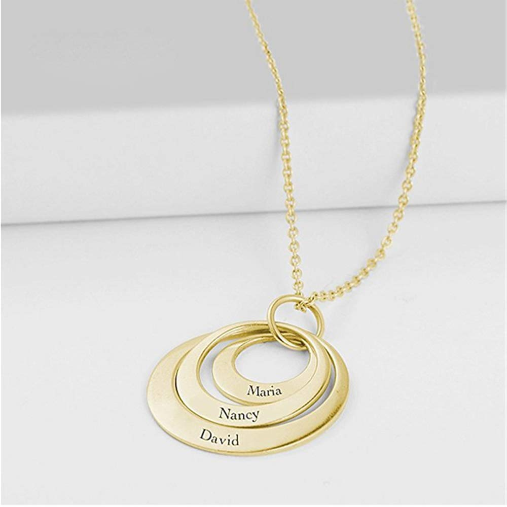 Gift for Mom-Custom Engraved Names Personalized 3 Names Necklace Custom Double Hearts Sterling Silver Copper Engraved 18K Rose Gold Plated Pendant