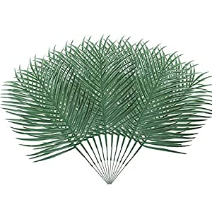 "MHMJON 12pcs Artificial Palm Fronds Leaves Large Fake Tropical Plant Leaf Branches Faux Imitation Ferns Green Greenery Hawaiian Luau Wedding Table Centerpiece Indoor Outdoor Decoration 19.5"" 7"