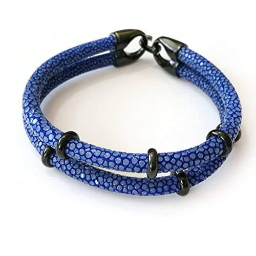 BeiChong Red 5MM Stingray Leather Rose Gold Circle Men Bracelet Bangle (Dark Blue Black)