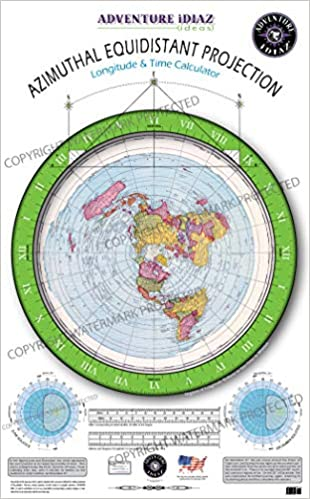 Azimuthal Equidistant Projection of the World - Flat Earth Map (No ...