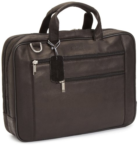 [Kenneth Cole Reaction Luggage Double Play Brief] (Leather Nylon Briefcase)