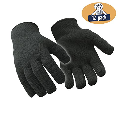 RefrigiWear Heavyweight Terry Glove Liners, Pack of 12 Pairs (Black, (Heavyweight Terry Gloves)