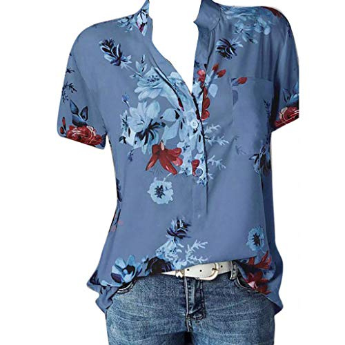 Work Casual Blouse for Women,SMALLE◕‿◕ Womens Loose Henley Blouse Button Down Short Sleeve Plus Size Blouse Tops Blue