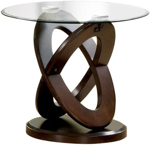 Furniture of America Xenda End Table, Dark Walnut