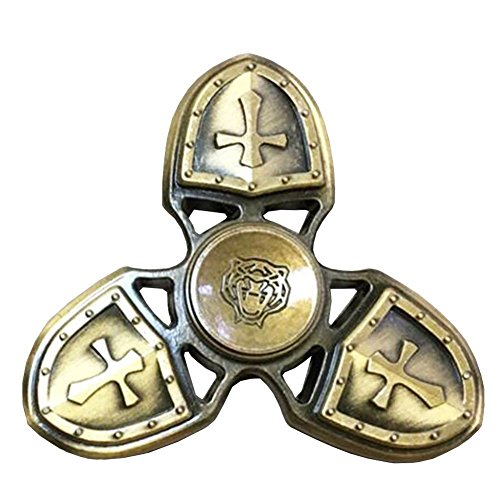 N2N Fidget Spinner - The Crusaders Spinner, Tri-leaf Gyro of Bronze Alloy with Ceramic Bearing,High Speed Spins, Anxiety Relief Toy (Brass)