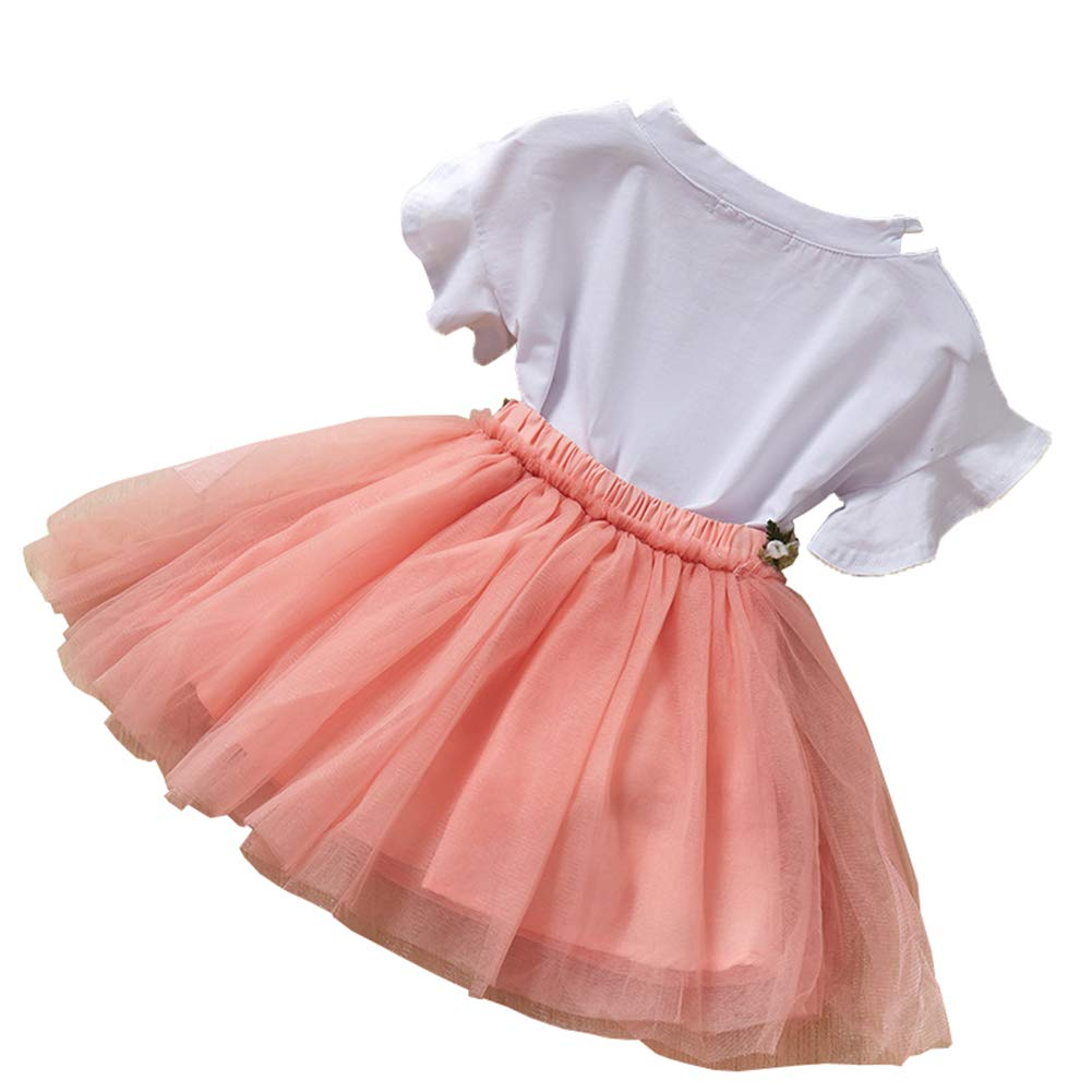 Tutu Tulle Skirt Party Costume Outfit 2Pcs Newborn Baby Girls Clothes Short Sleeve Shirt