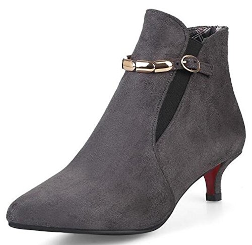 IDIFU Womens Sexy Mid Stiletto Heels Pointed Toe Buckle Short Ankle Boots Faux Suede Gray tuvrN9f