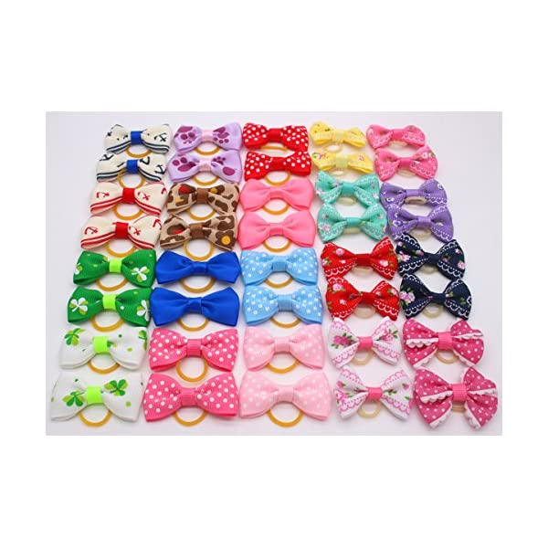 YOY 40 Pcs Adorable Grosgrain Ribbon Pet Dog Hair Bows with Elastics Ties – Stretchy Rubber Bands Doggy Kitty Topknot… Click on image for further info. 2