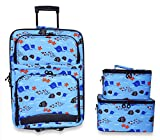 Ever Moda 3-Piece Carry On Luggage Set with Wheels for Travels, Ocean Life Fish