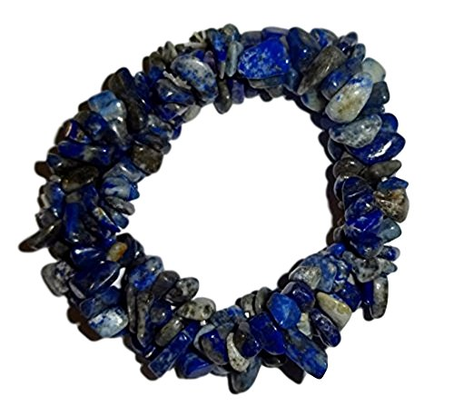 1pc Natural Lapis Lazuli Crystal Healing Triple Twist Braided Chip Gemstone 7 Inch Stretch Bracelet ()