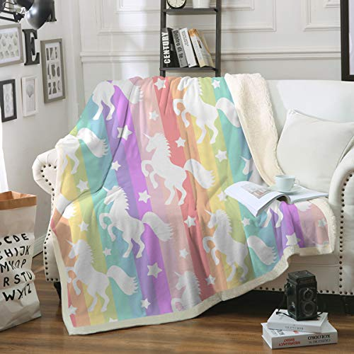 "Sleepwish Unicorn Blankets and Throws Rainbow Unicorn Sherpa Blanket Super Soft Cozy Plush Fleece Blanket Fantasy Girls Room Decor, Gallop Rainbow,Throw (50"" X 60"")"